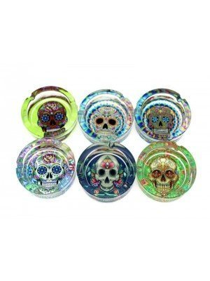 Wholesale Sparkys Glass Ashtray- Flower Skulls (Assorted Designs)-9cm