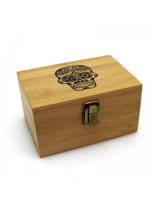 Wholesale Wooden Skull Box With Grinder and Container