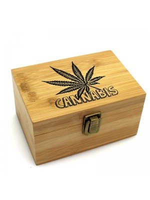 Wholesale Wooden Leaf Design Box With Grinder and Container