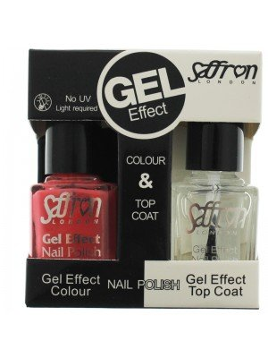 Wholesale Saffron Gel Effect Nailpolish - Salmon Pink & Top Coat