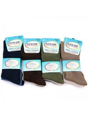 Wholesale Mens Flexi-Top Non Elastic Diabetic Socks - Assorted Colours (6-11)