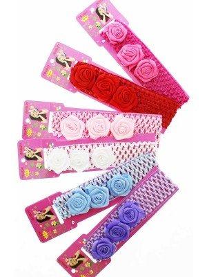 Crochet 3 Flower Design Headbands - Assorted