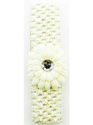 Wholesale Crochet Flower Design Headband - Cream