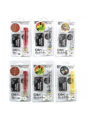 Wholesale D&K Glass Smoking Pipe with 2-Part Plastic Grinder with Leaf Set - Assorted