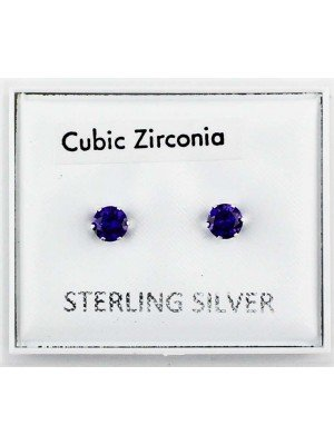 Wholesale Sterling Silver CZ lavender Claw Round Ear Stud-4mm