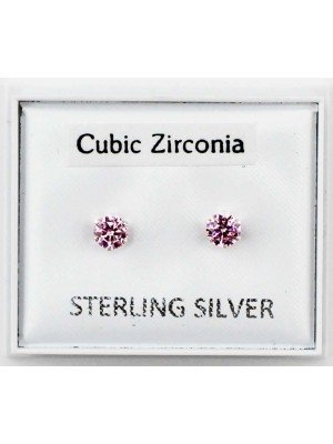 Wholesale Sterling Silver CZ Pink Claw Round Ear Stud-4mm