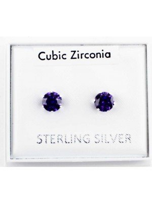 Wholesale Sterling Silver CZ lavender Claw Round Ear Stud-5mm