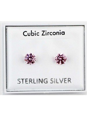 Wholesale Sterling Silver CZ Pink Claw Round Ear Stud-5mm