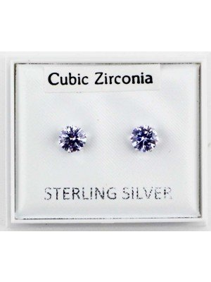 Wholesale Sterling Silver CZ Light Purple Claw Round Ear Stud-5mm