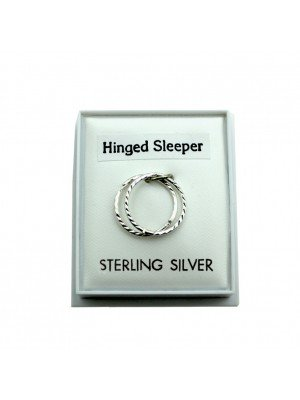 Sterling Silver Hinged Sleepers With Design 12mm
