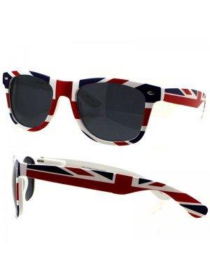 Wholesale Unisex Wayfarer Sunglasses with black tinted lens- Union Jack Print