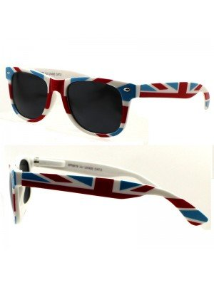 Wholesale Unisex Wayfarer Black Tinted Union Jack Print Sunglasses