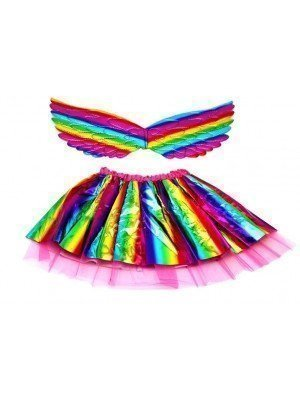 Wholesale Metallic Rainbow Wing And Tutu Set