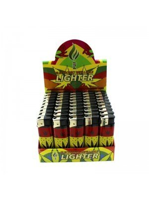 Wholesale PUF Electronic Refillable Lighters - Red Gold Green Leaf