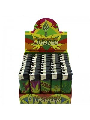 Wholesale PUF Electronic Refillable Lighters - Assorted Leaf Designs