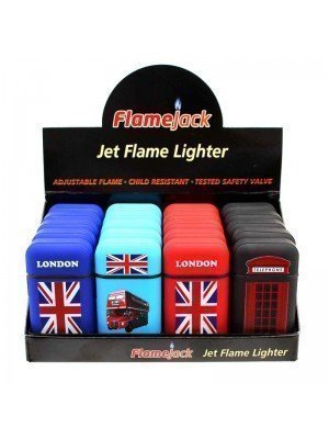 Wholesale FlameJack Jet Flame Refillable Lighters-London(Assorted Designs)-(20)