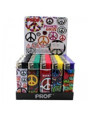 Wholesale PROF Electronic Refillable Lighters - Poppy Peace & Love