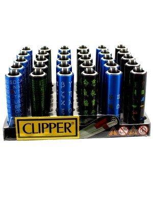 Clipper Flint Reusable Mini Lighters- Script(Assorted Designs)(30)