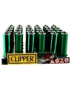 Clipper Flint Reusable Mini Lighters- Electric Green(Assorted Designs)(30)
