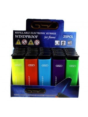 Wholesale GSD Electronic Jet Flame Refillable Rubber Lighters-Assorted Colours