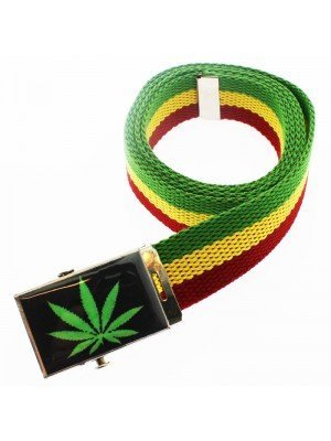 Men's Canvas Belt - Cannabis Green Leaf