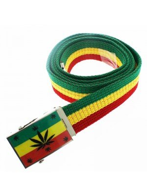 Men's Canvas Belt - Multi Cannabis Leaves