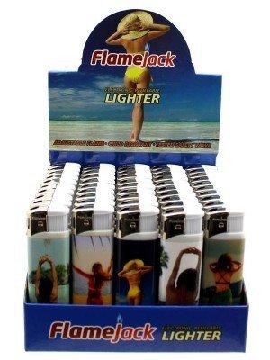 Flamejack Electronic Refillable Lighter- Women(Assorted designs)-(50)