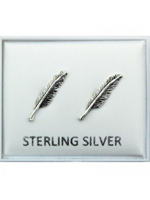 Wholesale Sterling Silver Feather Studs - 15mm