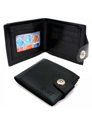Wholesale Mens Sport Leather Wallet with 4 Card Slots - Black
