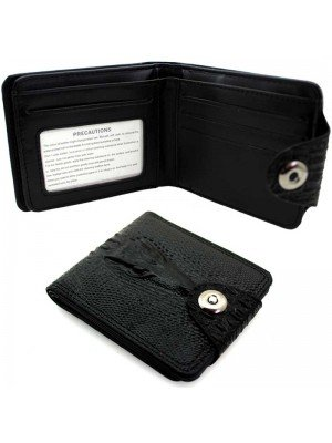 Wholesale Leather Wallet with 9 Card Slots - Dragon Design - Black