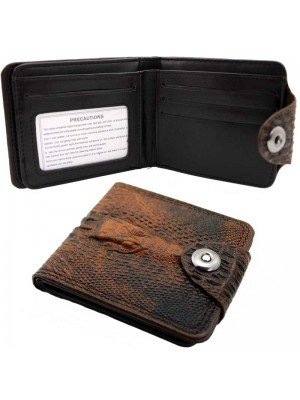 Wholesale Leather Wallet with 9 Card Slots - Dragon Design - Brown