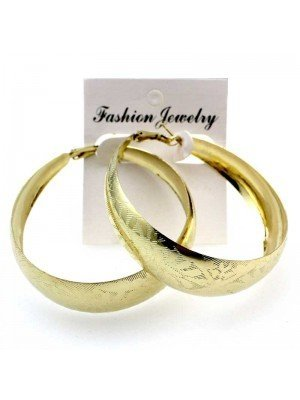 Wholesale Gold Bamboo Hoop Earrings - 6cm