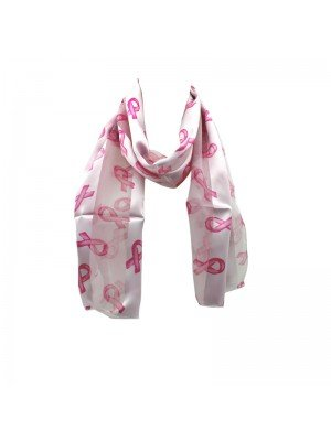 Wholesale Ladies Satin Stripe Pink Ribbon Print Scarf - Pink
