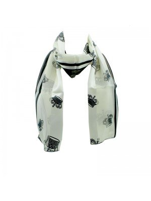 Wholesale Ladies Satin Stripe Crown Print Scarf - Cream and Black