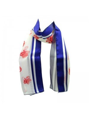 Wholesale Ladies Satin Stripe Crown Print Scarf - White and Blue