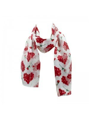 Wholesale Ladies Satin Stripe Rose Print Scarf - White