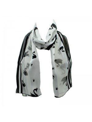 Wholesale Ladies Satin Stripe Swan Print Scarf - White