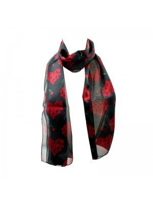 Wholesale Ladies Satin Stripe Rose Print Scarf - Black