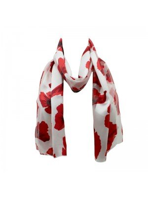 Wholesale Ladies Satin Stripe Poppy Flower Print Scarf - Cream