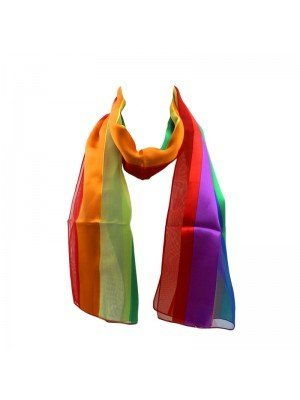 Wholesale Ladies Satin Stripe Scarf - Rainbow