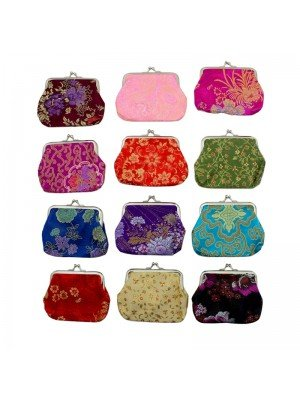 Wholesale Oriental Metal Clasp Coin Purse - Assorted Designs - 12 cm