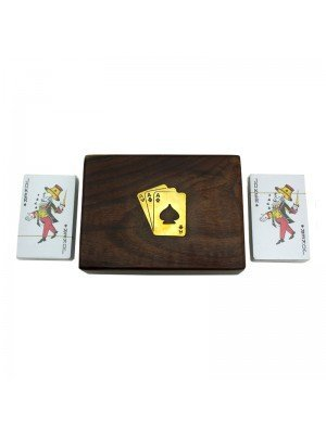 Wholesale Wooden Card Box with 2 Packs of Playing Cards