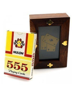 Wholesale Wooden Playing Card Box with Glass Cover and Deck of Cards