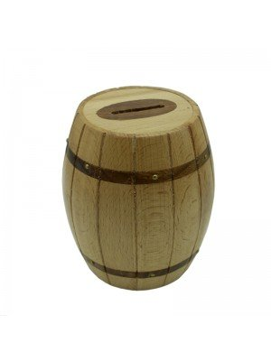 Wooden Barrel Shaped Money Box - 12cm