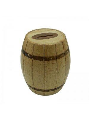 Wooden Barrel Shaped Money Box - 12cm