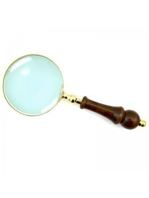 Wholesale Gold Magnifying Glass with Wooden Handle - 24 cm