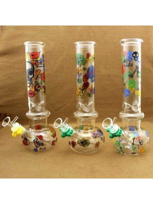 Wholesale D&K Glass Bong with Skull Prints - Assorted Designs