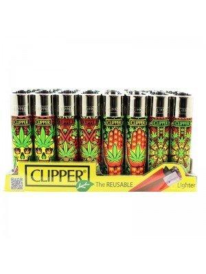 Wholesale Clipper Flint REUSABLE Lighters - Leaves Patterns