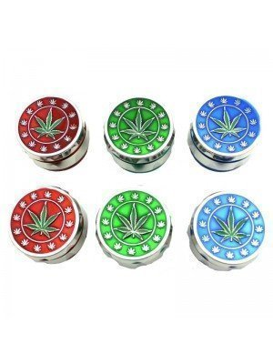 Wholesale 4-Part Metal Grinder with Leaves - Assorted Colours