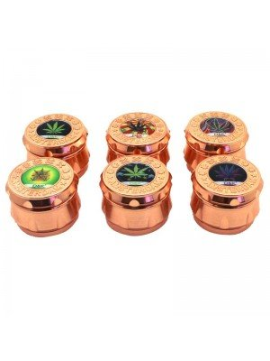 Wholesale 4-Part Metal Grinder Rose Gold with Leaf Design - Assorted